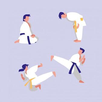 Grupo de personas practicando artes marciales avatar personaje