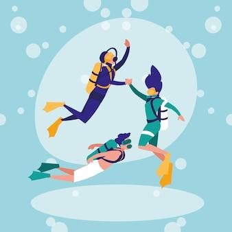 Grupo de personas practicando buceo avatar personaje