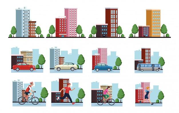 Grupo de personas practicando ejercicio en la ciudad escenas ilustración