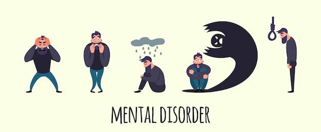 Grupo de personas con psicología o problema psiquiátrico.