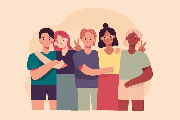 Grupo de personas que comparten recuerdos personales.