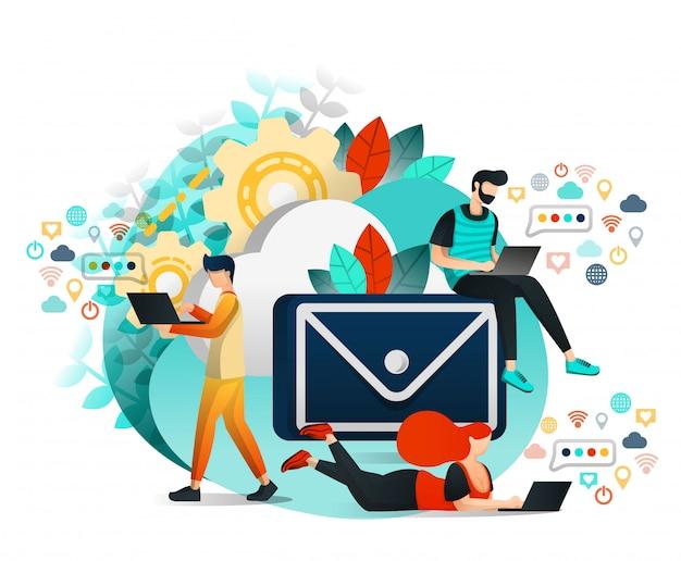 Grupo de personas que se comunican, aprenden por correo electrónico.