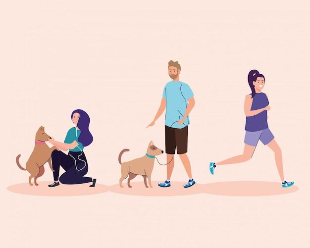 Grupo de personas que realizan actividades, mujer corriendo y pareja con diseño de ilustración de perros