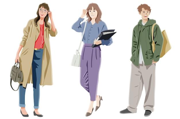 Grupo de personas que trabajan concepto de pose permanente
