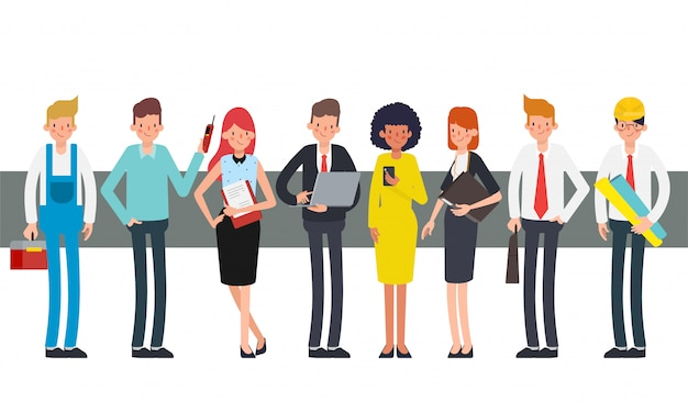 Grupo de personas que trabajan en equipo de trabajo en jornada laboral.