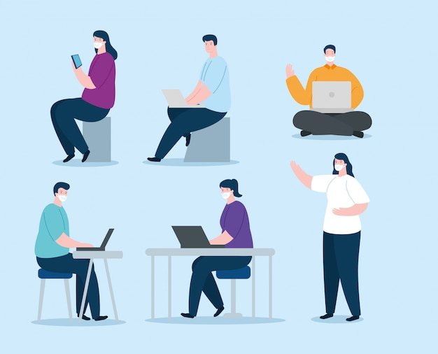Grupo de personas que usan mascarilla con dispositivos de diseño de ilustración electrónica