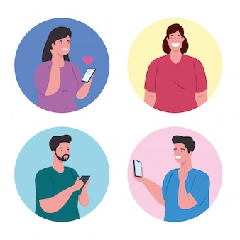 Grupo de personas que utilizan el concepto de tecnología de comunicación, redes sociales y teléfonos inteligentes