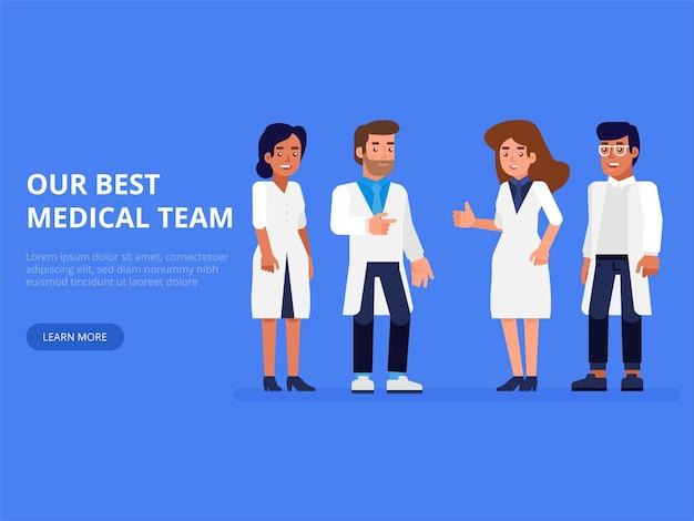 Grupo de personas sanitarias. médicos profesionales con enfermera y cirujano.