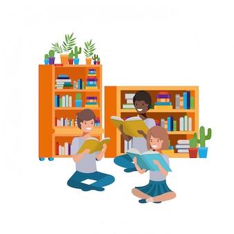 Grupo de personas sentadas con pila de libros