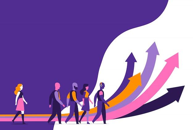 Un grupo de personas siguiendo diferentes caminos para el crecimiento.