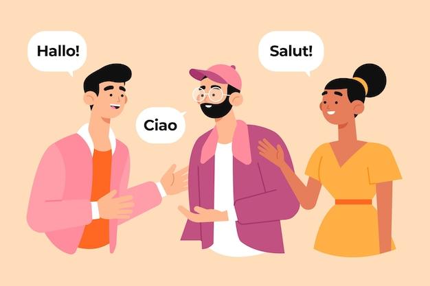 Grupo de personas socializando en varios idiomas.