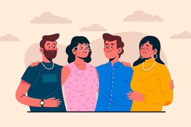 Grupo de personas, sonriente
