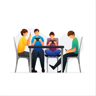 Grupo de personas con teléfonos inteligentes y sentarse en la silla.