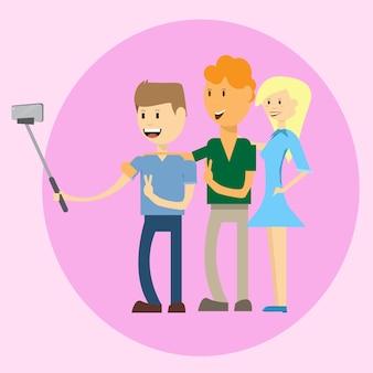 Grupo de personas tomando foto selfie en teléfonos inteligentes con stick