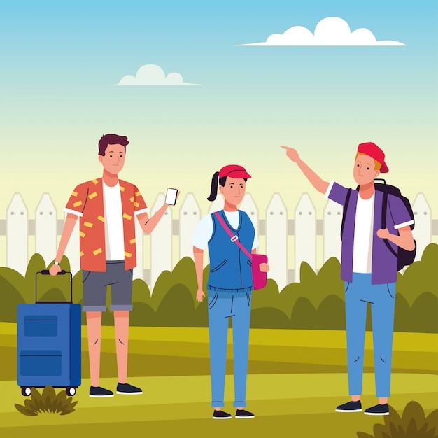 Grupo de personas turísticas que realizan actividades en el campo ilustración
