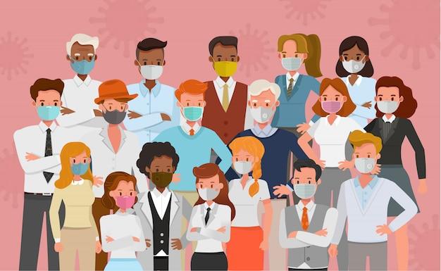 Grupo de personas usan máscara médica, diseño de personajes de concepto de protección contra virus y contaminación