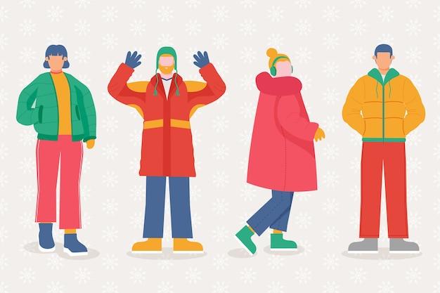 Grupo de personas vestidas con ropa de invierno