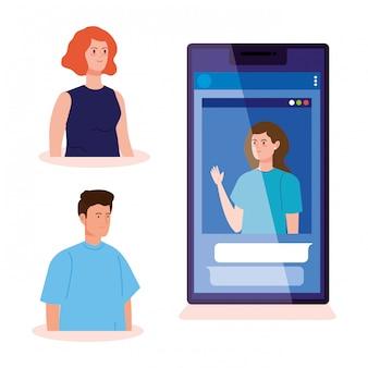Grupo de personas en video conferencia en teléfono inteligente