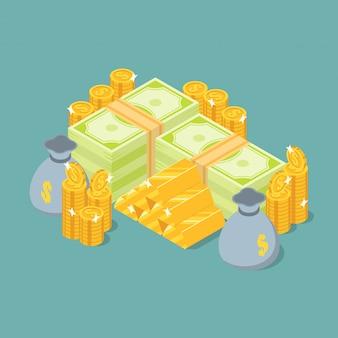 Grupo de pila de dinero, barras de oro, monedas y bolsa de dinero en vista isométrica