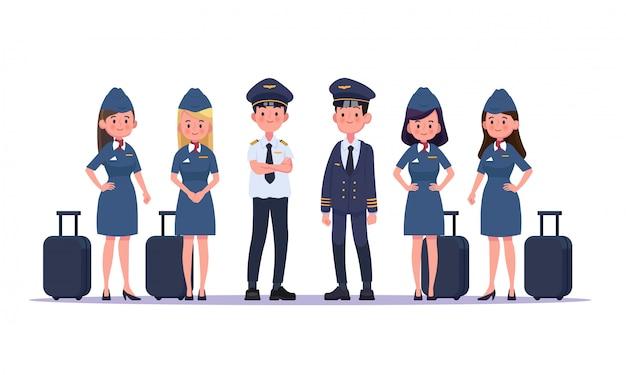 Grupo de pilotos y auxiliares de vuelo, azafata. personajes de personas de diseño plano.