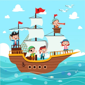 Grupo de piratas de dibujos animados en un barco en el mar