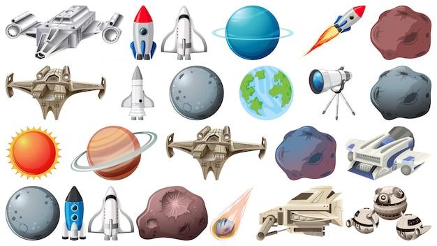 Grupo de planetas y objetos espaciales.