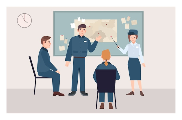 Grupo de policías masculinos y femeninos sentados en sillas y de pie junto al tablero de alfileres. proceso de investigación de delitos, procedimiento de examen de pruebas. personajes de dibujos animados planos. ilustración vectorial