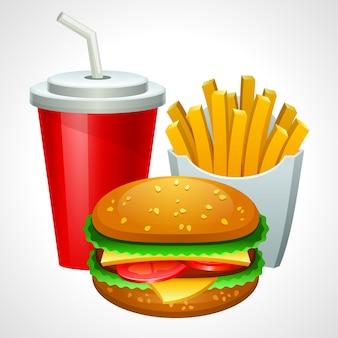 Grupo de productos de comida rápida. ilustración.