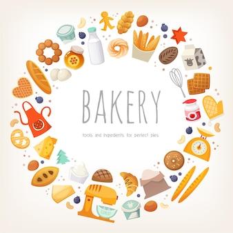 Grupo de productos lácteos, pan y productos de panadería e ingredientes dispuestos en borde circular