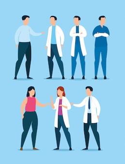 Grupo de profesionales de la salud con diseño de ilustración vectorial de pacientes