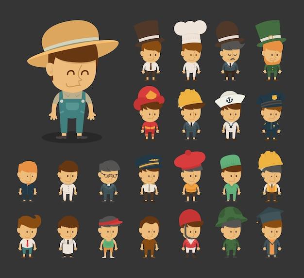 Grupo de profesiones personajes de dibujos animados
