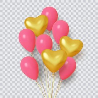 Grupo realista de globos en forma de corazón ilustración