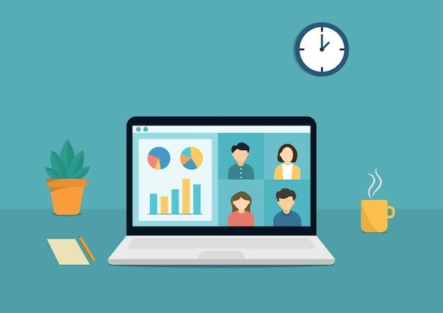 Grupo de reunión en línea a través de videoconferencia remota y diseño de ilustración de trabajo desde casa.