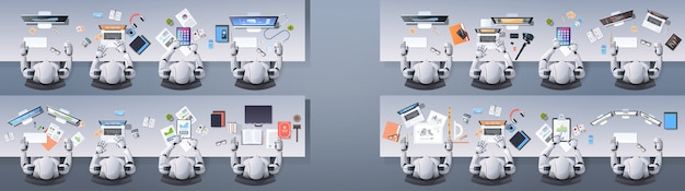 Grupo de robots humanoides modernos sentados en escritorios en el aula de la escuela concepto de inteligencia artificial
