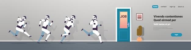 Grupo de robots modernos corriendo a la puerta de trabajo competencia de tecnología de inteligencia artificial