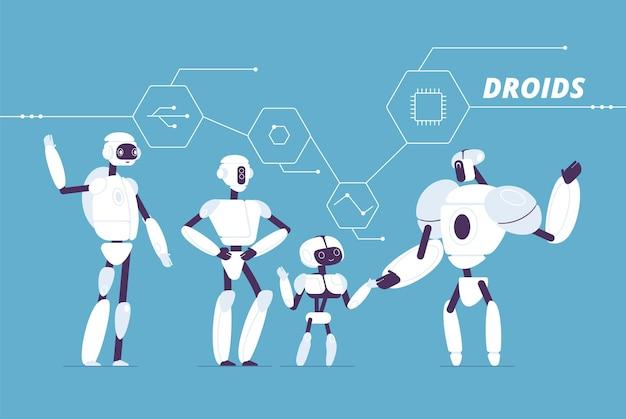 Grupo de robots. varios modelos de androides de pie juntos multitud de concepto cyborgs futurista. cyborg electrónico, ilustración de robots mecánicos artificiales