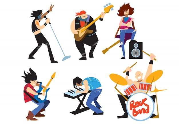 Grupo de rock de músicos aislado sobre fondo blanco.