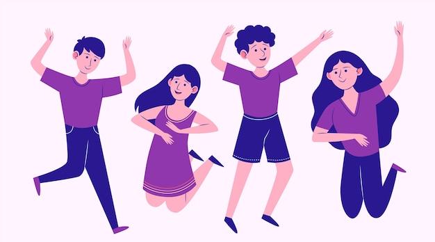 Grupo de saltos de personas planas dibujadas a mano