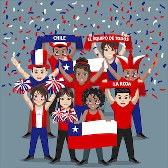 Grupo de seguidores del equipo nacional de fútbol de chile