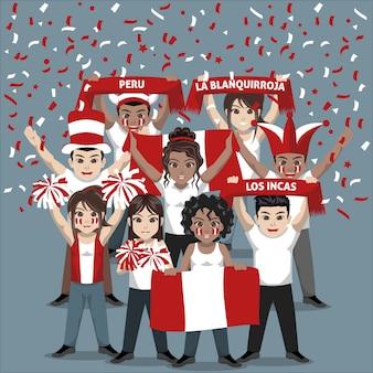 Grupo de seguidores del equipo nacional de fútbol de perú