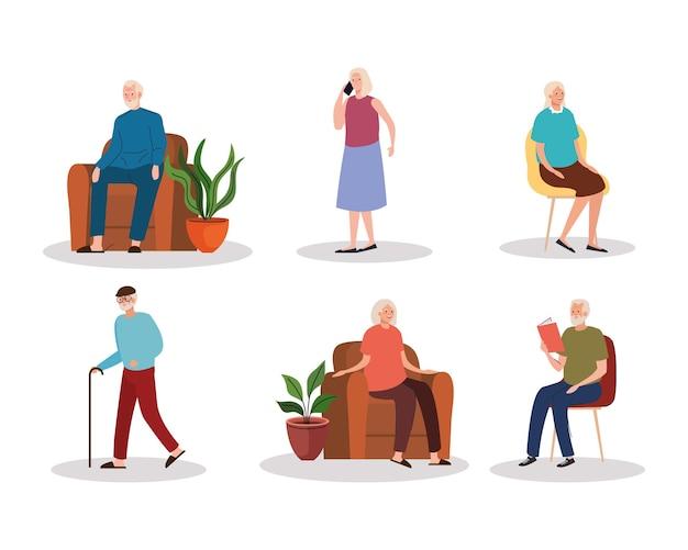 Grupo de seis personajes ancianos ancianos.