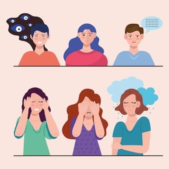 Grupo de seis personas con caracteres de trastorno bipolar.