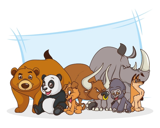 Grupo de siete personajes de dibujos animados cómicos de animales