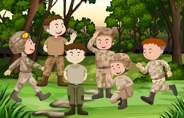 Grupo de soldados en el bosque.