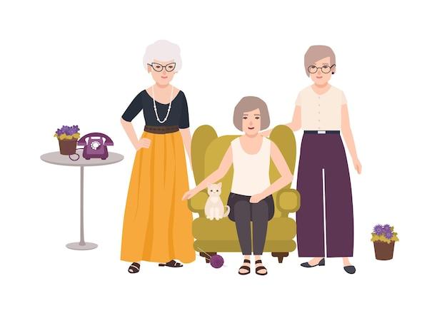 Grupo de sonrientes ancianas vestidas con ropa elegante sentado en un cómodo sillón y de pie. ancianas pasando tiempo juntas. personajes femeninos de dibujos animados. ilustración de vector colorido.