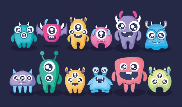 Grupo de tarjeta de monstruos lindos