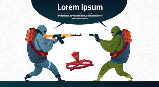 Grupo de terroristas armados terrorista máscara negra arma ametralladora