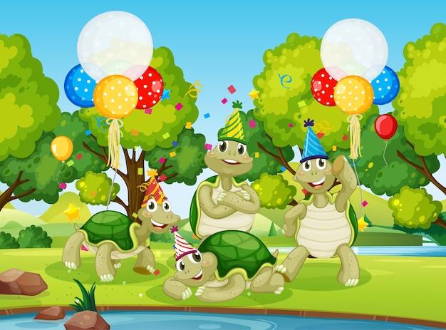 Grupo de tortugas en una fiesta en el bosque.