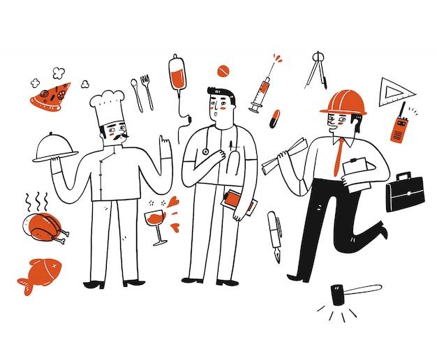 Un grupo de trabajadores charlando de pie hay un jefe sosteniendo una bandeja de comida