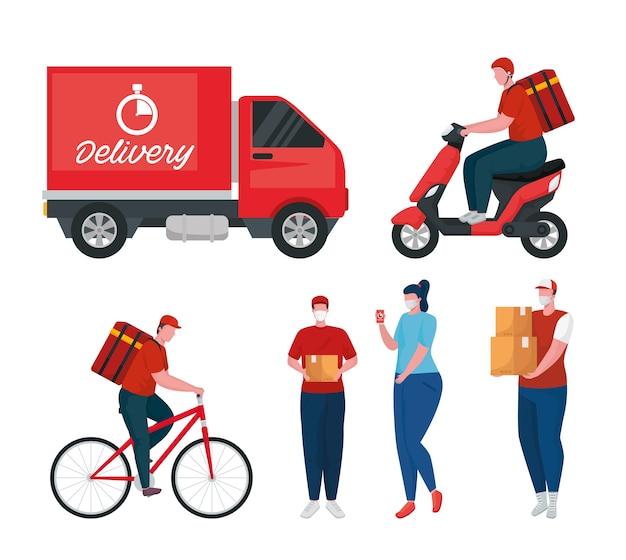 Grupo de trabajadores de entrega con máscaras médicas y vehículos